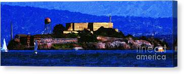 Last Light Over Alcatraz . Panorama Cut Canvas Print by Wingsdomain Art and Photography