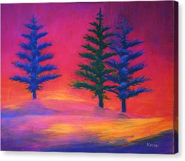 Canvas Print featuring the painting Last Rays by Karin Eisermann