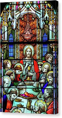Last Supper Stained Glass Canvas Print by Matthew Green