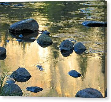 Late Afternoon Reflections In Merced River In Yosemite Valley Canvas Print by Greg Matchick