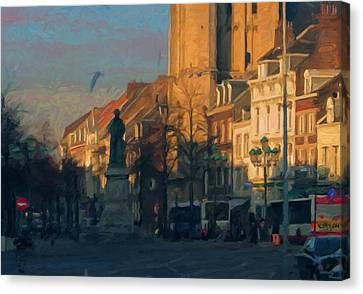 Late Autumn Light In The Boschstreet Canvas Print by Nop Briex