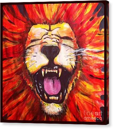 Laughing Lion Canvas Print by Jeffrey Kyker