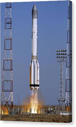 Launch Of Proton-k Rocket Canvas Print by Ria Novosti