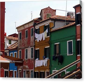 Laundry Day In Burano Canvas Print by Carla Parris