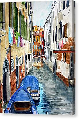 Canvas Print featuring the painting Laundry Day In Venice by Tom Riggs