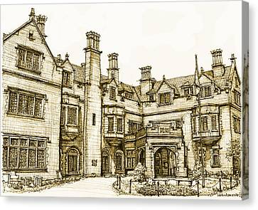Laurel Hall In Sepia Canvas Print by Building  Art