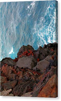 Lava Rocks And Ocean Water Canvas Print by Jennifer Bright