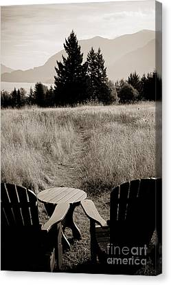 Lawn Chair View Of Field Canvas Print by Darcy Michaelchuk