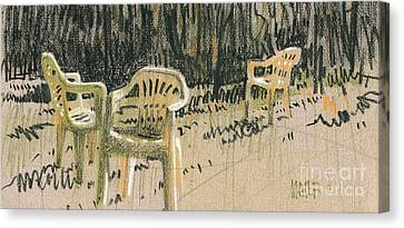 Lawn Chairs Canvas Print by Donald Maier