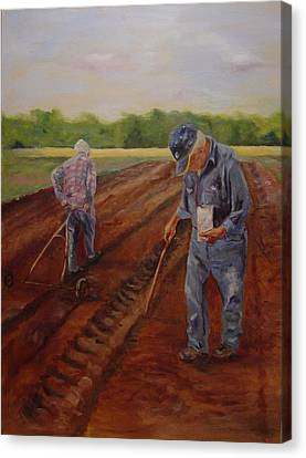 Canvas Print featuring the painting Laying Off Rows by Carol Berning