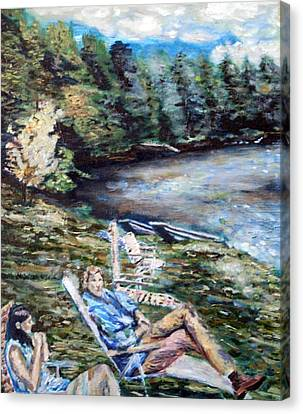 Canvas Print featuring the painting Lazy Day On The Mill Pond by Denny Morreale