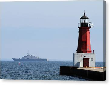 Canvas Print featuring the photograph Lcs3 Uss Fort Worth By The Menominee Lighthouse by Mark J Seefeldt
