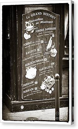 Le Grand Bistrot Menu Canvas Print by John Rizzuto