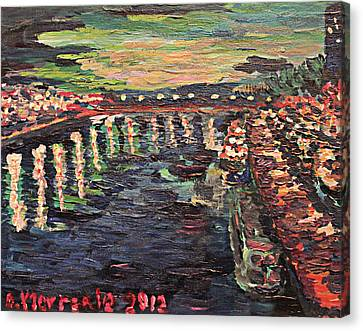 Canvas Print featuring the painting Le Seine De Nuit by Denny Morreale