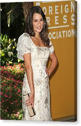 Lea Michele Wearing A Valentino Resort Canvas Print by Everett