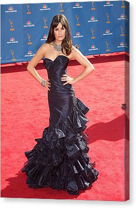 Lea Michele Wearing An Oscar De La Canvas Print
