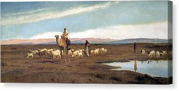 Leading The Flock To Pasture Canvas Print by Frederick Goodall