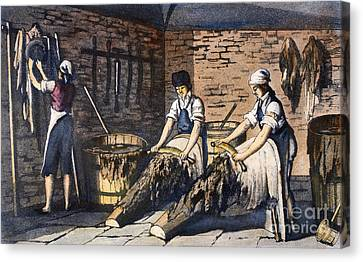 Leather Manufacture, 1800 Canvas Print by Granger