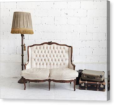 Leather Sofa In White Room Canvas Print