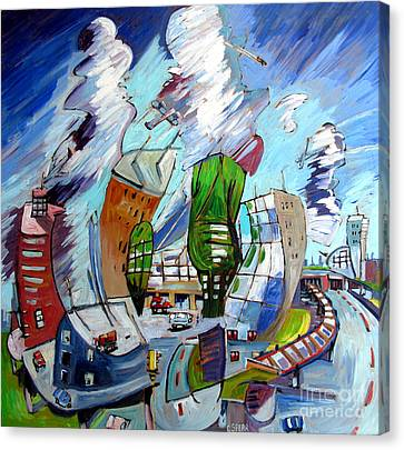 Leaving O'hare On A Jet  Plane Canvas Print by Charlie Spear