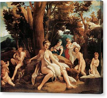 Leda With The Swan  Canvas Print by Correggio