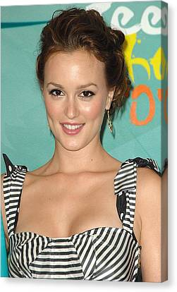 Leighton Meester In The Press Room Canvas Print by Everett