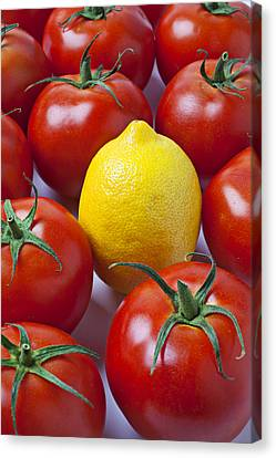 Sour Canvas Print - Lemon And Tomatoes by Garry Gay