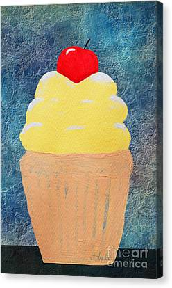 Lemon Cupcake With A Cherry On Top Canvas Print by Andee Design