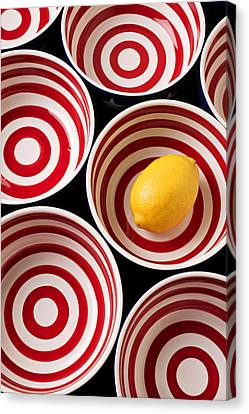 Lemon In Red And White Bowl  Canvas Print by Garry Gay