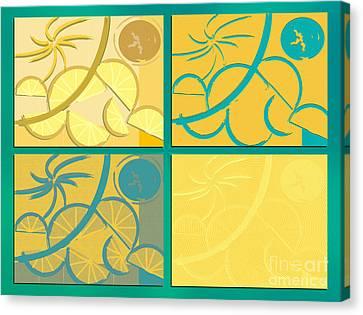 Lemon Sun And Moon Canvas Print by Michelle Bergersen