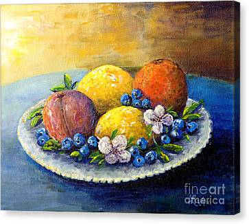 Canvas Print featuring the painting Lemons And Blueberries by Lou Ann Bagnall