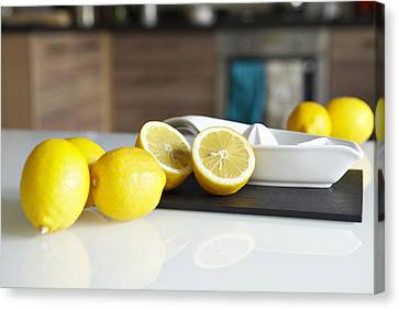 Lemons And Juicer On Kitchen Counter Canvas Print