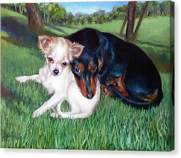 Canvas Print featuring the painting Lena And Peanut by Nancy Tilles