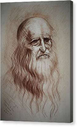 Canvas Print featuring the drawing Leonardo Da Vinci Study by Lynn Hughes
