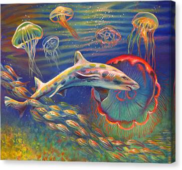 Leopard Shark And Jellyfish Canvas Print by Nancy Tilles