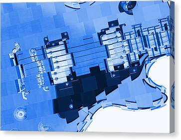 Abstract Guitar In Blue 2 Canvas Print by Mike McGlothlen