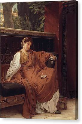 Lesbia Weeping Over A Sparrow Canvas Print by Sir Lawrence Alma-Tadema