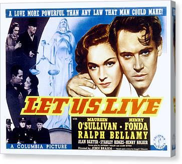 Let Us Live, Maureen Osullivan, Henry Canvas Print