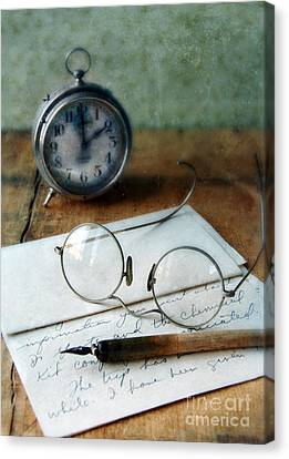 Letter Pen Glasses And Clock Canvas Print