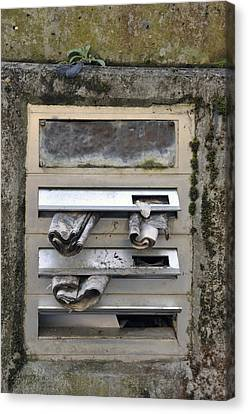 Letterbox With Old Newspapers Canvas Print by Matthias Hauser