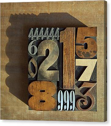 Letterpress Numbers Canvas Print by Daryl Benson