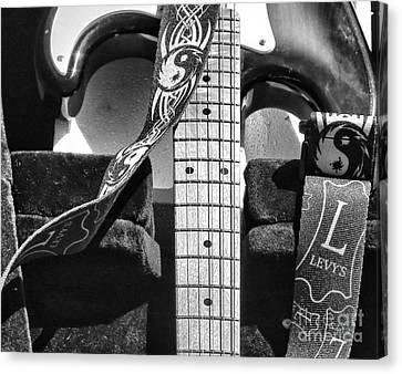 Beach Hop Canvas Print - Levys Guitar IIi Bw by Chuck Kuhn