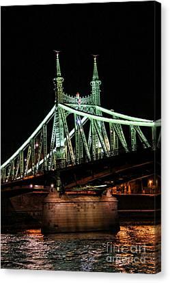 Liberty Bridge At Night Canvas Print by Mariola Bitner