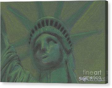 Liberty In Green Canvas Print by Stephen Cheek II