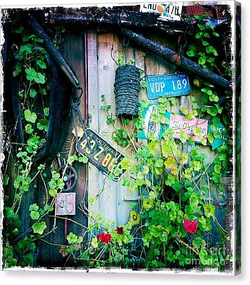 Canvas Print featuring the photograph License Plate Wall by Nina Prommer