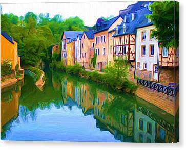 Life Along The Alzette River Canvas Print by Dennis Lundell
