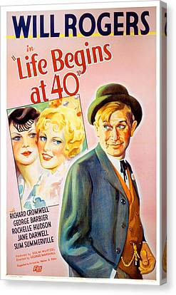 Life Begins At Forty, Will Rogers, 1935 Canvas Print by Everett