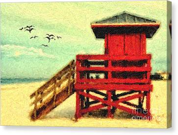 Canvas Print featuring the photograph Life Guard Station by Gina Cormier
