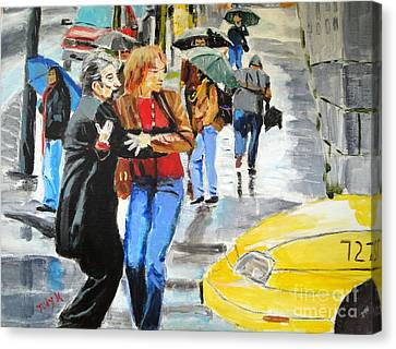 Canvas Print featuring the painting Life In The Big City by Judy Kay