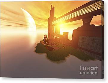 Port Town Canvas Print - Life On Another World by Corey Ford